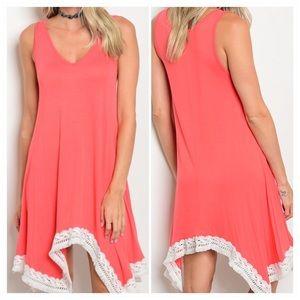 Dresses & Skirts - Sleeveless scoop neck lace trim jersey tunic dress